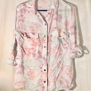 Floral sanctuary button down top